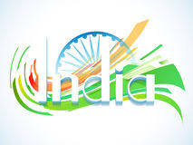 3D text with Ashoka Wheel for Indian Republic Day. 3D text India with Ashoka Wheel for Indian Republic Day celebration Royalty Free Stock Photos