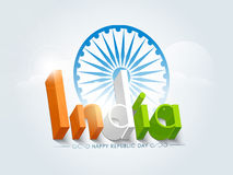 3D text with Ashoka Wheel for Indian Republic Day. Royalty Free Stock Photo