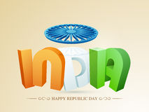 3D text with Ashoka Wheel for Indian Republic Day. 3D text India in national tricolor under Ashoka Wheel for Happy Indian Republic Day celebration Royalty Free Stock Photo