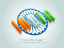 3D text with Ashoka Wheel for Republic Day celebration. Stock Photography