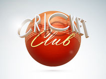 3D text with ball for Cricket Club. 3D text Cricket Club with ball on shiny grey background Royalty Free Stock Photos