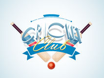 3D text with bat and ball for Cricket Club. 3D text Cricket Club with bats and ball on sky blue background Stock Image