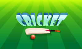 3D text with bat and ball for Cricket. 3D text Cricket with shiny bat and red ball on green stadium background stock illustration