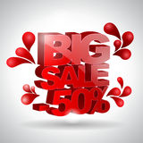 3D text Big sale. On white background Royalty Free Stock Photos