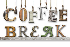3d text coffee break. Wood texture. Letters hung and placed on the shelf. Coffee break written. Different fonts with wooden texture. The word coffee hanging royalty free illustration