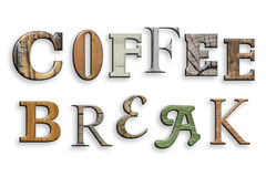 3d text coffee break. Wood texture. Letters on white. Coffee break written. Different fonts with wooden texture. Realistic 3d effect. On white background Stock Image