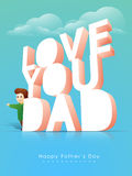 3D text with cute boy for Fathers Day celebration. Stock Photography