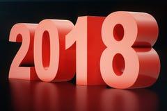 3D Text 3D der Illustration 2018 Zahlen Text des guten Rutsch ins Neue Jahr 2018 lizenzfreie abbildung