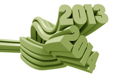 2013 and 2014 3d text Stock Photo