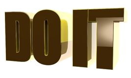 3d text `Do it`. 3d render, 3d image. Glossy voluminous text. Do it Royalty Free Stock Photos