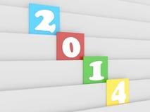 3d text för nytt år 2014 på kvarteret Arkivfoton