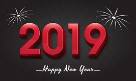 3D text 2019 on glossy black background for New Year celebration. Poster design royalty free illustration