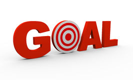 3d text goal with target. 3d illustration of word goal including target Stock Image