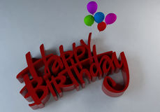 3d text-Happy Birthday. 3D Illustration of happy birthday text with balloons Royalty Free Stock Images