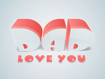 3D text for Happy Fathers Day celebration. Royalty Free Stock Photography