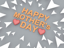 3d text of happy mothers day with heart shape object Stock Images