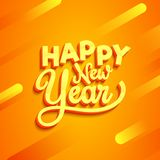 3D text Happy New Year on abstract orange background for 2019 ce. Lebration stock illustration