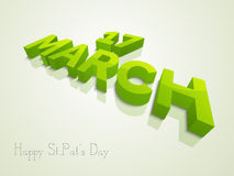 3D text for Happy St. Patricks Day celebration. 3D text 17 March for Happy St. Patricks Day celebration Royalty Free Stock Images