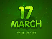 3D text for Happy St. Patricks Day celebration. 3D text 17 March on clover leaf decorated shiny green background for Happy St. Patricks Day celebration Royalty Free Stock Image