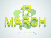 3D text for Happy St. Patricks Day celebration. 3D text 17 march with shamrock leaf for Happy St. Patricks Day celebration, can be used as poster or banner Royalty Free Stock Photos