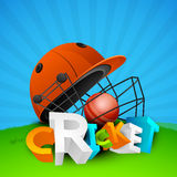 3D text with helmet and cricket ball. Stock Image