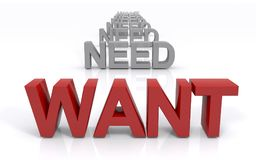 Need/want dilemma concept Royalty Free Stock Image