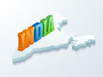 3D text India with Map for Republic Day. Stock Image