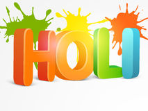 3D text for Indian festival, Holi celebration. Indian festival of colors celebration with glossy 3D text Holi on splash background Royalty Free Stock Photography