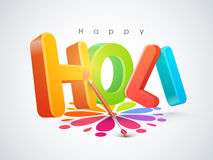 3D text for Indian festival, Holi celebration. Glossy 3D text Holi with color gun on floral design decorated rangoli for Indian festival of colors celebration Vector Illustration