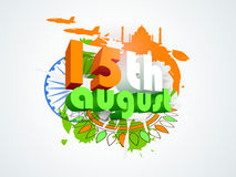 3D text for Indian Independence Day celebration. 3D text 15th August in tricolors infront of Ashoka Wheel on floral design and famous monuments made by national Stock Photo