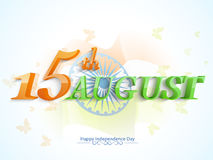 3D text for Indian Independence Day. Glossy 3D text 15th August in national flag color with Ashoka Wheel for Indian Independence Day celebration Stock Photography