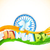 3D text for Indian Republic Day celebration. Glossy 3D text 26 January on National Tricolor waves and Ashoka Wheel for Indian Republic Day celebration Stock Images