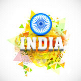 3D text for Indian Republic Day celebration. Stylish 3D text India with Ashoka Wheel on colourful abstract background for Indian Republic Day celebration Royalty Free Stock Photography