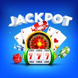 3D text Jackpot with roulette wheel, slot machine, playing card and casino chip on blue background. 3D text Jackpot with roulette wheel, slot machine, playing royalty free illustration