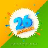 3D text 26 Januari på abstrakt bakgrund vektor illustrationer