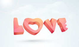 3D text Love for Happy Valentines Day celebration. Royalty Free Stock Photography