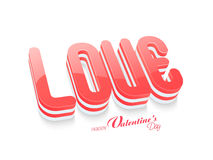 3D text Love for Valentine's Day celebration. Royalty Free Stock Photos