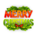 3D Text for Merry Christmas celebration. 3D Text Merry Christmas with fir tree branches decoration on white background Royalty Free Stock Images