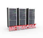 3d text network and computer network servers Royalty Free Stock Image