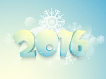 3D text 2016 for New Year celebration. 3D glossy text 2016 on snowflakes decorated shiny background for Happy New Year celebration Royalty Free Stock Photo