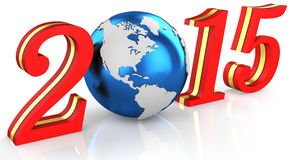 3d 2015 text new year concept. With earth globe Royalty Free Stock Images