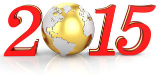 3d 2015 text new year concept. With earth globe Vector Illustration