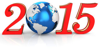 3d 2015 text new year concept. With earth globe Stock Photos