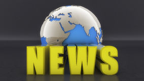 3d text news and world globe. 3d rendering. 3d text news and world globe Stock Photography