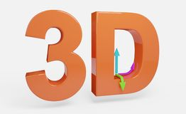 3D text orange with arrows illustration isolated Royalty Free Stock Image