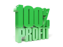 3D text 100 precent profit. Royalty Free Stock Photo
