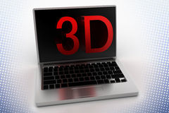 3D Text  Projecting From Laptop In Halftone Royalty Free Stock Photos