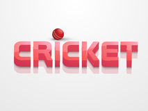 3D text with red ball for cricket concept. 3D text Cricket with red ball for sports of cricket concept on shiny white background Royalty Free Stock Image