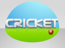 3D text with red ball for cricket sports. 3D text Cricket with red ball on shiny field background Royalty Free Stock Photos