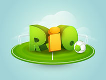 3D Text for Rio. Glossy 3D Text Rio with Soccer Ball in stadium Stock Photography